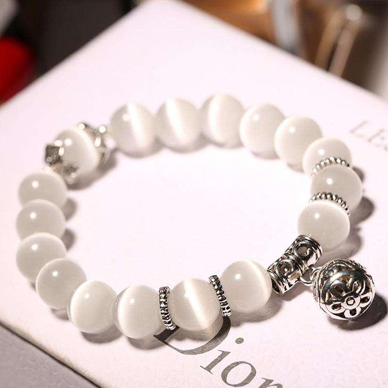 Bracelet Porte Bonheur En Opale Blanche - L'univers-karma