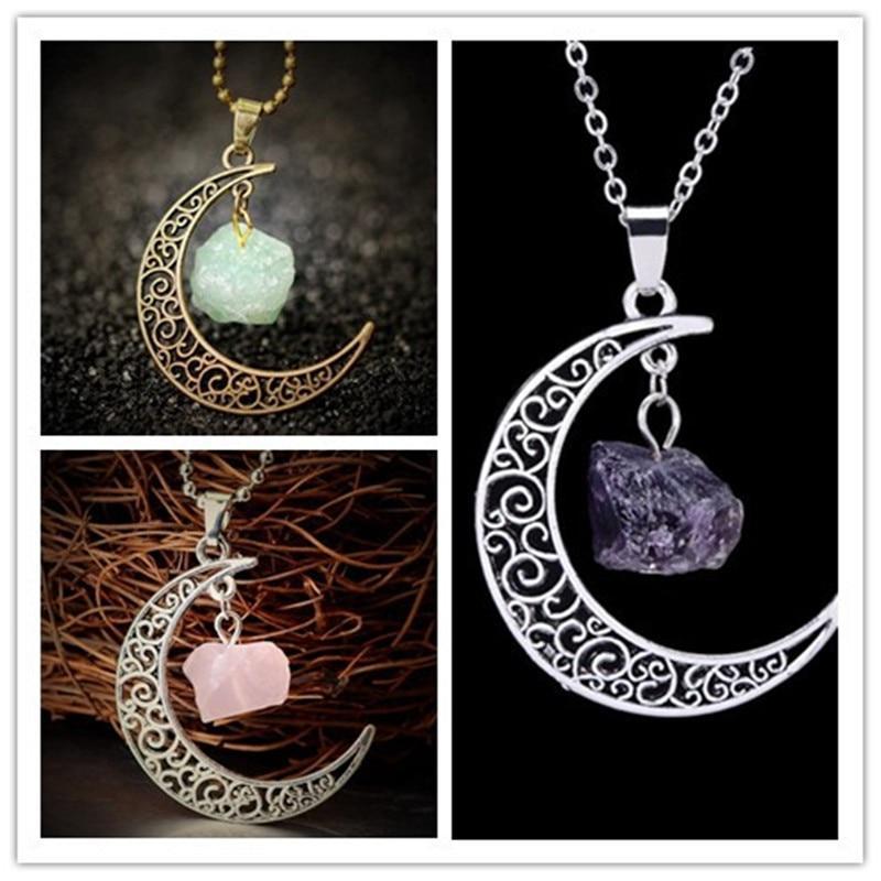 Collier Lune avec pierre semi-précieuse - L'univers-karma