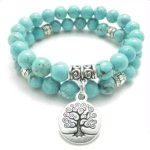 Bracelet Double Turquoise Arbre de Vie Ancestral - L'univers-karma