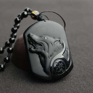 Collier de Protection du Loup en Obsidienne Noire - L'univers-karma