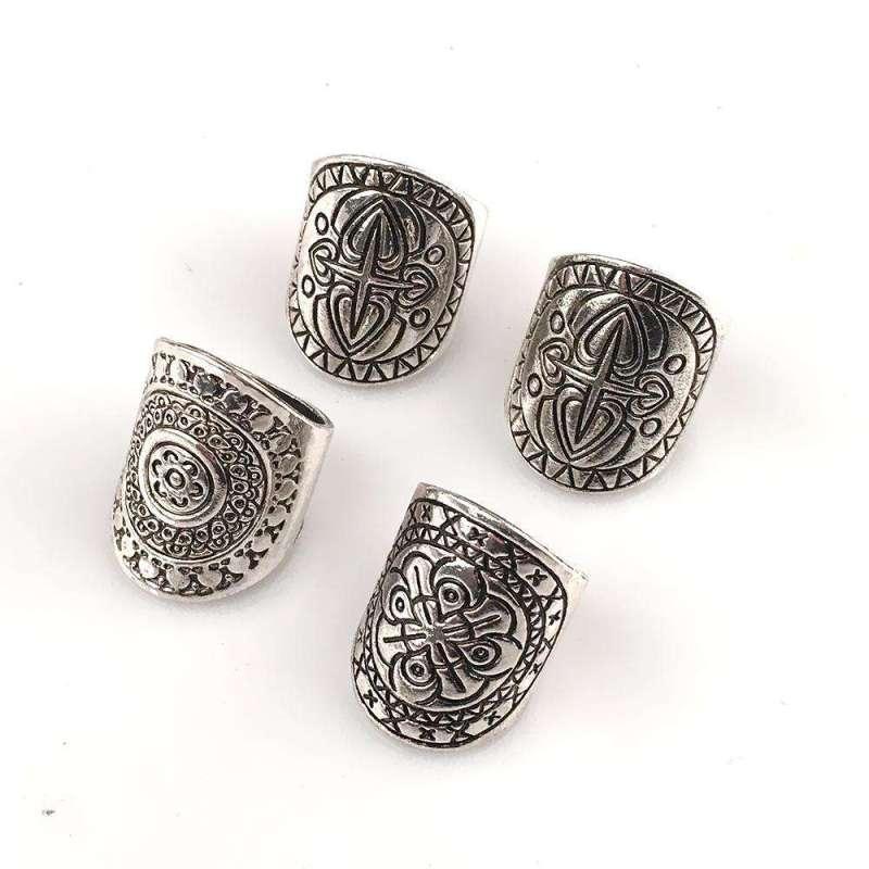 Lot de 4 bagues mandala en argent antique - L'univers-karma