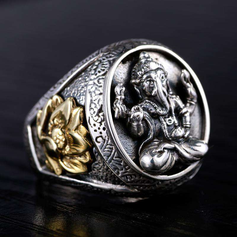 Bague Ganesh Gravée en Argent - L'univers-karma