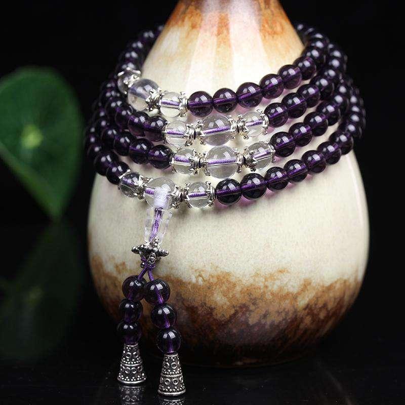 Bracelet Mala Bouddhiste en Améthyste - L'univers-karma