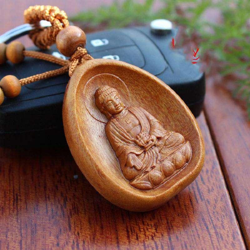 Porte Clé Amulette Bouddha En Bois de Pécher - L'univers-karma