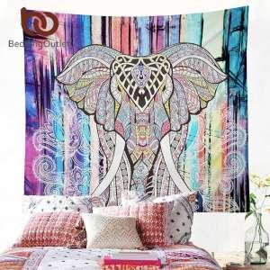 """Toile Indienne Mandala """"Éléphant Sacré"""" - L'univers-karma"""