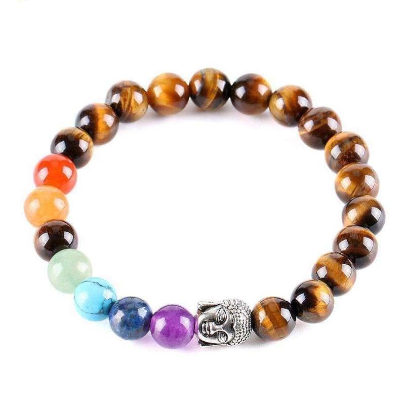 Bracelet Boudhiste des 7 Chakras en Oeil de Tigre - L'univers-karma