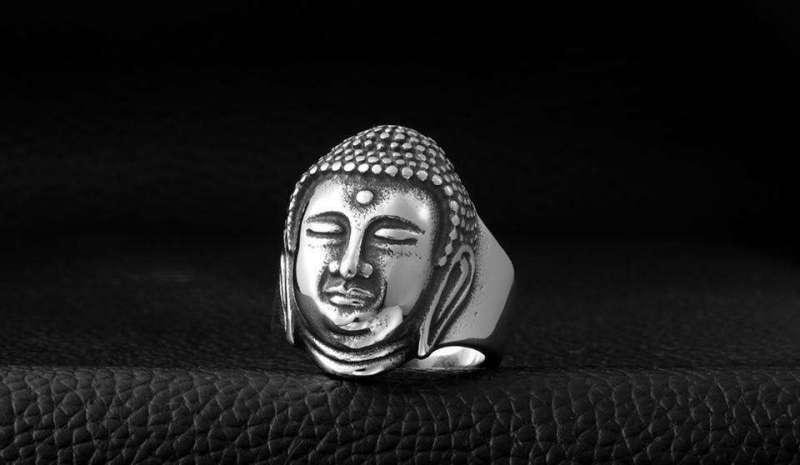 Bague de Chance Bouddha en Acier Inoxydable - L'univers-karma