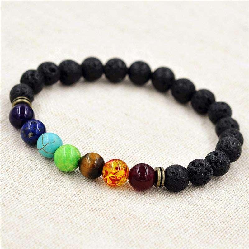 Bracelet de Guérison des 7 Chakras en Pierre de Lave - L'univers-karma