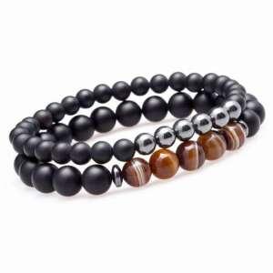 """Double Bracelet """"Ancrage & Equilibre"""" en Agate et Hématite - L'univers-karma"""