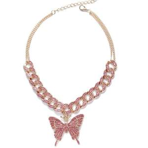 Collier papillon strass rose