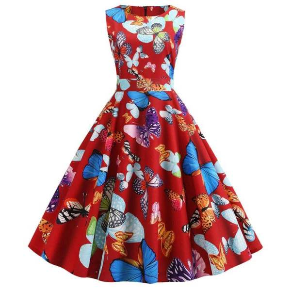 Robe Pin Up Papillon Rouge