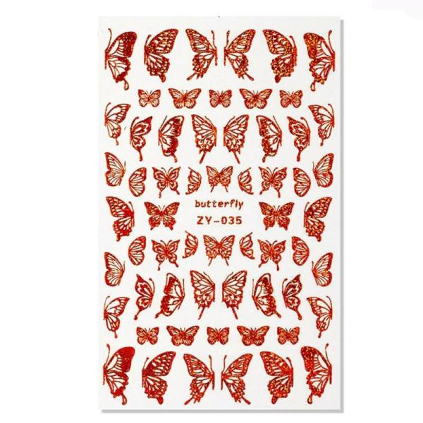 stickers papillon pour ongles rouge