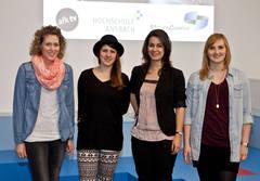 Startschuss für die ersten vier Stipendiaten der Eliteförderung Videojournalismus (von links: Judith Rückert, Christina Karl, Susanne Dauer und Birgit Loidl). Foto: Chris Fay