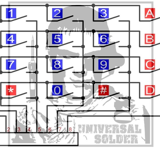 4 x 4 matrix keypad for Arduino Raspberry ST32 - smarter electronics by universal solder