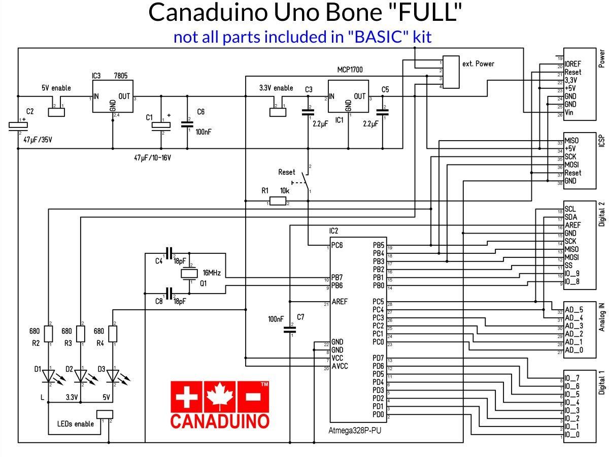 CANADUINO Uno Bone Basic - simple DIY Arduino Uno R3 development board - smarter electronics by Universal Solder