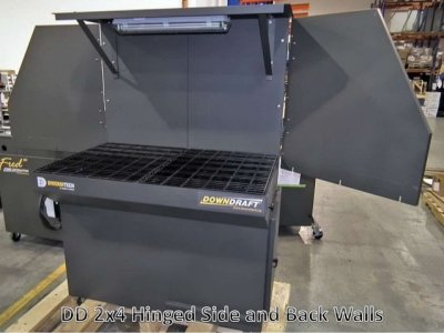 DD 2x4 downdraft table Hinged Side and Back Walls (no light)