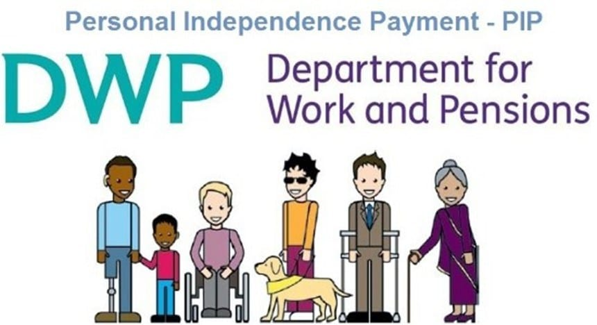 Cartoon picture of 6 people, consist of a amputee with a child, wheelchair user, blind person with a service dog, man with crutches and a elderly lady with walking stick. Above them is captions as follows Personal independence Payment - PIP, DWP Department for Work and Pension