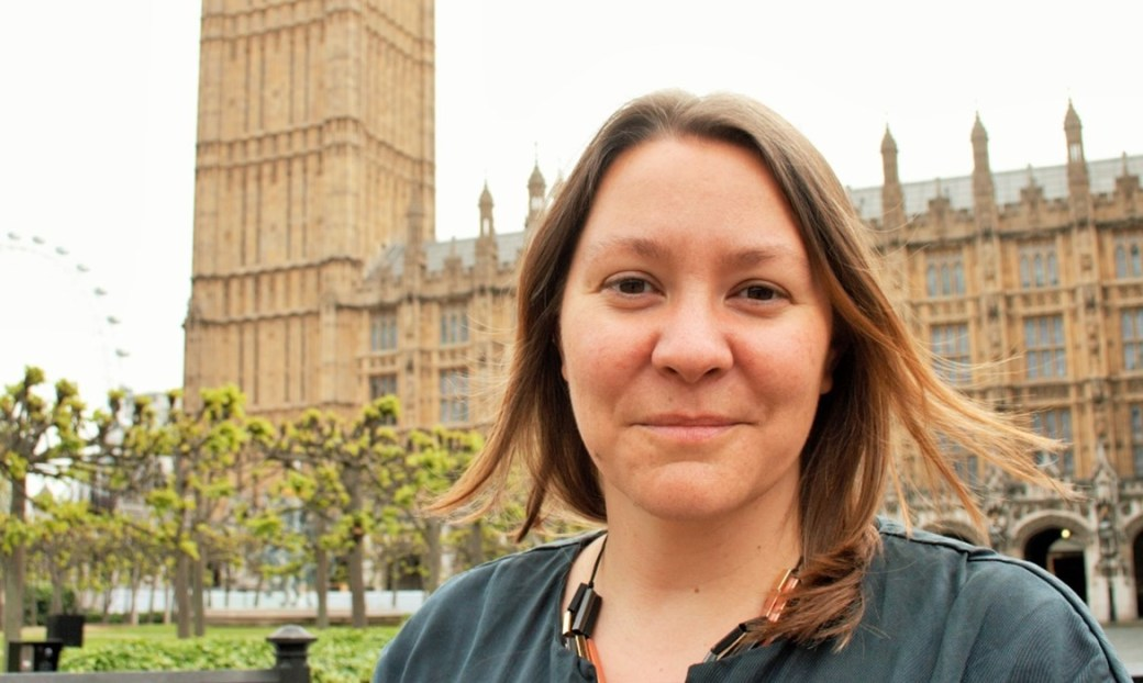 Labour MP Anna Turley in from of the houses of parliament