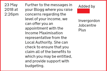Extract from a Universal Credit claimants journal