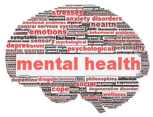 Mental health conception on white background
