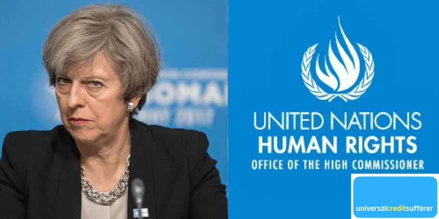 picture of Theresa May with an worried face next to plaque of the United Nations Human Rights Council - Office of the High Commissioner