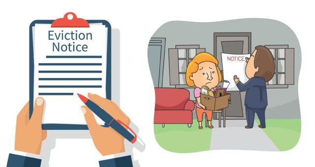 Tenant being evicted with eviction notice