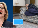 Amber Rudd portrait and old man on sofa