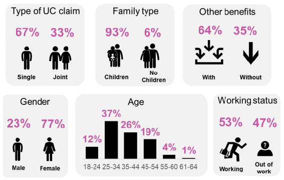 Several Graphs showing the breakdown of a telephone study of Universal Credit claimants by age, gender, family type and working status.
