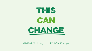 "This is a Trussell Trust graphic showing the hashtag 5 weeks too long. It also says ""THIS CAN CHANGE."""