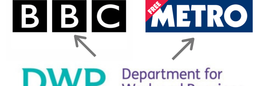 DWP, BBC and Metro Logos