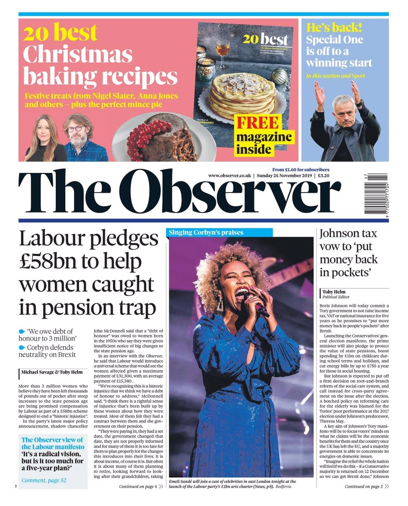 The front page of the Observer newspaper showing the headline splash that Labour have pledged 358 billion to help women affected by the rise in state pension age.