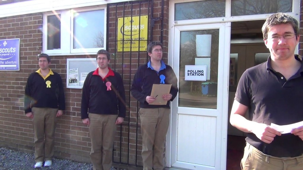 Pollster outside Polling station in the UK for the General Election