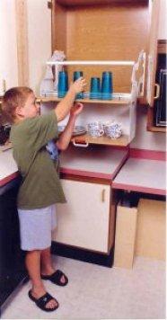 A pull-down shelf