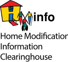 logo for Home Modifiation Information Clearinghouse. A graphic yellow house with red roof and three figures, one is a wheelchair user