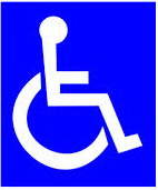 International symbol for access. Blue background with white graphic.