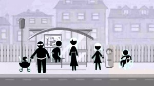 Stick figures represent the family members. The video is in black and white. This is one frame from it.