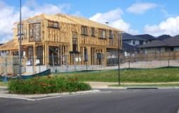 House half built showing timber framework