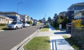 Street with footpath in a new development