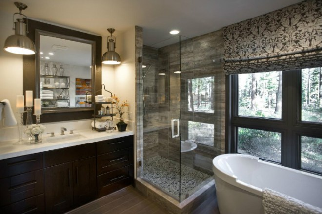 Picutre of a bathroom showing a vanity and bath with the shower, with a hob, squeezed in the corner between them