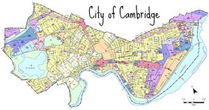 A map of Cambridge which is shaped a bit like a butterfly