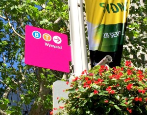 A bright pink sign saying Wynyard and directions to the station.