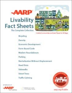 Front page of AARP fact sheets showing the list of contents