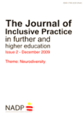 Cover page of the Journal of Inclusive practice in further and higher education.