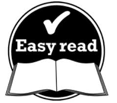 Black and white logo for easy read, has a tick and a open book