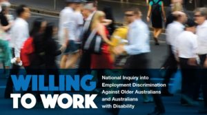 section of the front cover of willing to work report by human rights commission