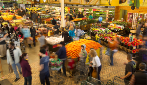 overhead picture of the fresh food section of a supermarket. Shopping - a holistic approach.