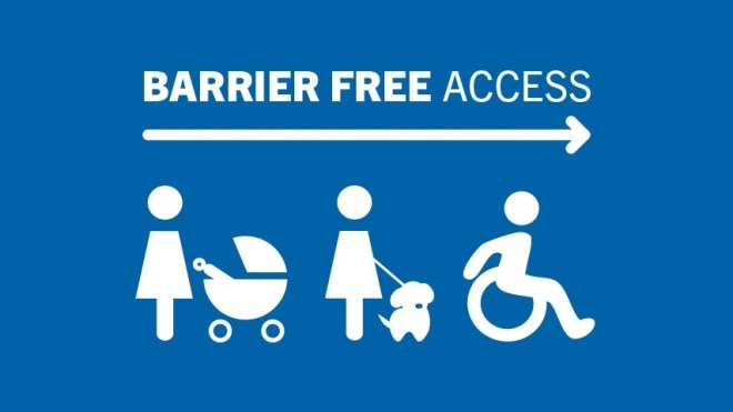 A blue background with three icons. One shows a woman pushing a pram, the next a woman with a dog, the third, a wheelchair user. The icons are in white