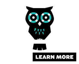 logo of Alzheimer's Australia learning program. It is a black owl figure with blue eyes