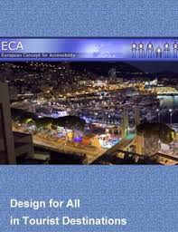 Front cover of publication. Blue background with a night time scene across a city. Design for All inclusive tourism.