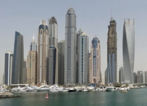 Picure of very high rise buildings on the waterfront at Dubai UAE